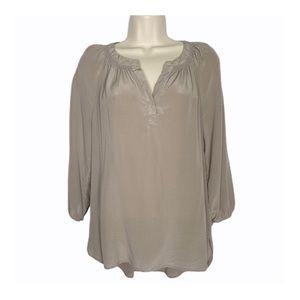 Max Studio Taupe Silk 3/4 Sleeve Top